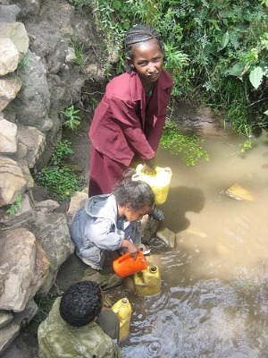 collecting water in africa