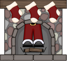 santa in fireplace