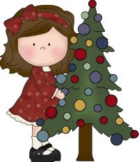 girl christmas tree