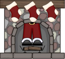 santa in fireplace